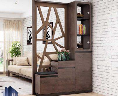 جاکفشی پارتیشن SHJ345 دارای کشو و قفسه و ویترین که به عنوان جداکننده در ورودی منزل و پذیرایی منزل و یا فضا های دفتری و اداری استفاده میشود