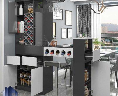 میز بار BTJ140 دارای کشو و قفسه و جای بطری که به عنوان کابینت و میز و کانتر اپن و پارتیشن در آشپزخانه و پذیرایی و کافی شاپ استفاده میشود.