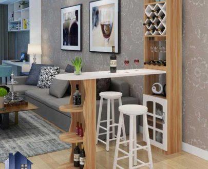 میز بار BTJ142 دارای درب شیشه ای و قفسه بطری که به عنوان کابینت و کنسول و کانتر اپن و بار در آشپزخانه و پذیرایی و کافی شاپ استفاده میشود.