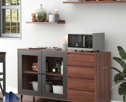 کابینت CSJ120 دارای کشو و دراور و درب شیشه ای به صورت ویترین که به عنوان میز بار و قهوه ساز در آشپزخانه و کافی شاپ استفاده میشود.