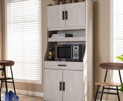 کابینت CSJ122 دارای میز قهوه ساز و ماکروفر که به عنوان میز بار و کمد ظرف در آشپزخانه و کافی شاپ و رستوران مورد استفاده قرار میگیرد