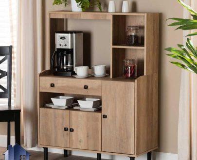 کابینت CSJ123 دارای میز قهوه ساز و ماکروفر که به عنوان کمد یا کابینت و کنسول ظروف در آشپزخانه و پذیرایی و کافی شاپ و رستوران استفاده میشود