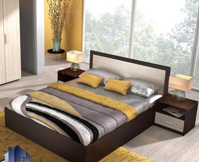 تخت خواب دو نفره DBJ169 به صورت تخت باکس تاج دار با کفی فلزی که این تختخواب دونفره در کنار سرویس خواب در اتاق خواب مورد استفاده قرار میگیرد.