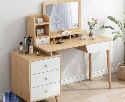 میز آرایش DJ558 دارای قفسه و کشو و دراور که به عنوان میز توالت و گریم و همچنین کنسول آینه دار در کنار سرویس خواب استفاده میشود.