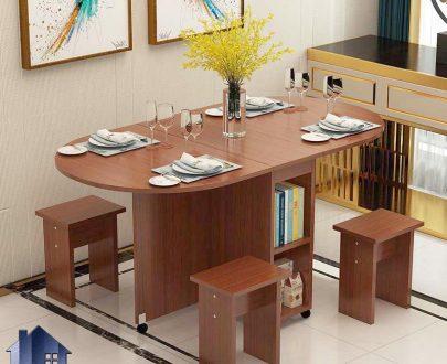 میز نهارخوری تبدیلی DTJ77 دارای مکانیزم کمجا و دارای چهار عدد صندلی که به عنوان میز ناهارخوری و غذاخوری در آشپزخانه و کافی شاپ استفاده میشود