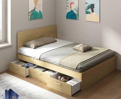 تخت خواب یک نفره SBJ185 دارای کشو که به عنوان تختخواب و تخت باکس یکنفره کشو و دراور دار در کنار سرویس خواب در اتاق خواب استفاده میشود.