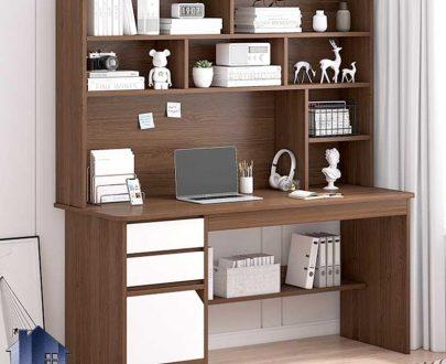 میز تحریر SDJ367 دارای کتابخانه و قفسه و فایل که به عنوان میز مطالعه و کامپیوتر و لپ تاپ در اتاق کار و اتاق خواب استفاده میشود.