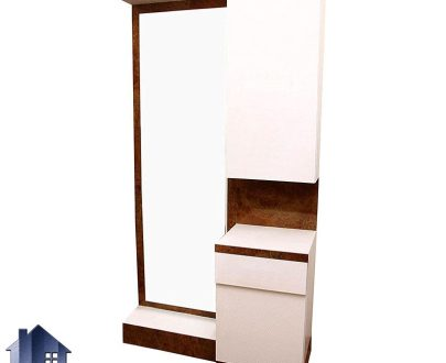 آینه قدی SMJ219 دارای کمد و قفسه که به عنوان میز آرایش و توالت و گریم و آینه آرایشگاهی در منازل و سالن های آرایشگاه استفاده میشود