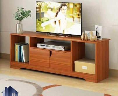 میز تلویزیون مدل TTJ99 دارای درب و قفسه که به عنوان استند و براکت ال سی دی LCD و الی ای دی LED در قسمت تی وی روم و پذیرایی استفاده میشود