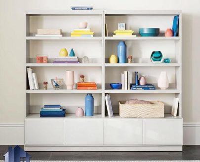 کتابخانه BCSJ102 به صورت دو تکه که دارای قفسه و طبقات و درب برای کتاب که به عنوان ویترین و جاکتابی در کنار سرویس خواب در اتاق قرار میگیرد