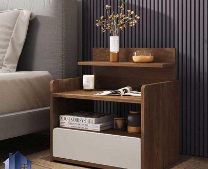 پاتختی BSTJ128 دارای کشو و قفسه ویترینی که به عنوان میز آباژور و تلفن و دراور کنار تختخواب در کنار سرویس خواب اتاق خواب استفاده میشود.