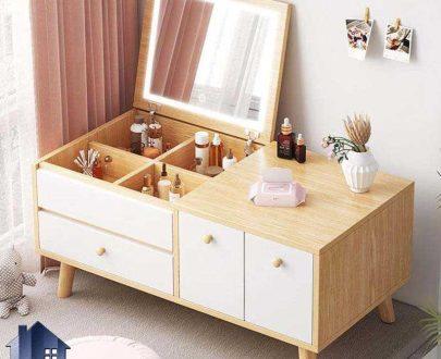 پاتختی BSTJ129 به صورت آینه دار دارای آینه تاشو جکدار و کشو دیوایدر که به عنوان میز آرایش و گریم و توالت در کنار سرویس خواب قرار میگیرد