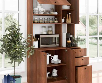 کابینت CSJ124 دارای میز بار قهوه ساز و ماکروویو (ماکروفر) و کمد و کشو ظرف که در قسمت آشپزخانه و پذیرایی و کافی شاپ و رستوران استفاده میشود.
