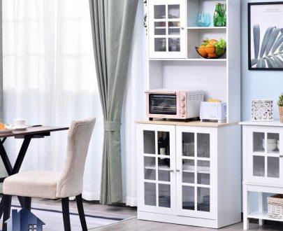 کابینت CSJ125 دارای قفسه و درب شیشه ای که به عنوان میز بار و قهوه ساز و ماکروفر (ماکروویو) در آشپزخانه و پذیرایی و کافی شاپ استفاده میشود