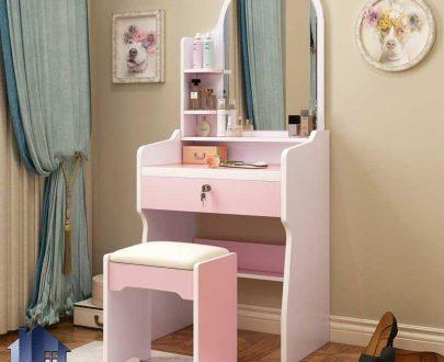 میز آرایش DJ565 دارای کشو و قفسه و ویترین که به عنوان کنسول و دراور آینه دار و میز توالت و گریم در کنار سرویس خواب در اتاق قرار میگیرد.