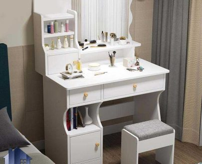 میز آرایش DJ567 دارای کشو و درب و قفسه که به عنوان میز کنسول و دراور آینه دار و میز توالت و گریم در کنار سرویس خواب در اتاق استفاده میشود.