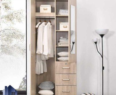 کمد جالباسی LHJ324 دارای کشو و دراور لباس و میله آویز لباس و آینه قدی روی درب که به عنوان کمد دیواری در کنار سرویس خواب در اتاق قرار میگیرد