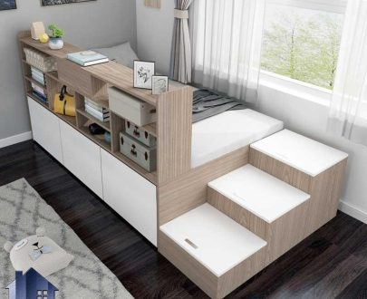 تخت خواب یک نفره SBJ189 دارای کتابخانه، قفسه، کشو و دراور و باکس که به عنوان تختخواب نوجوان و یکنفره در کنار سرویس خواب در اتاق قرار میگیرد