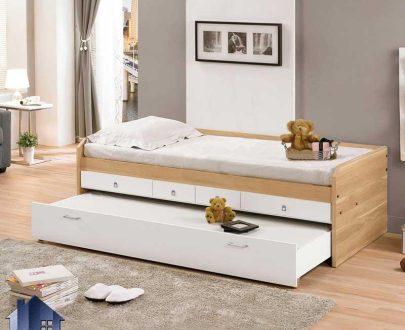 تخت خواب یک نفره SBJ190 دارای کشو و دراور و تخت کوشویی مهمان که به عنوان تخت دوطبقه و دونفره کمجا در کنار سرویس خواب در اتاق قرار میگیرد