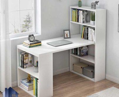 میز تحریر SDJ373 دارای کتابخانه و قفسه که به عنوان میز کامپیوتر و لپ تاپ و میز کار و گیمینگ در کنار سرویس خواب در اتاق استفاده میشود