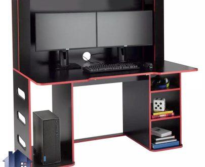 میز گیمینگ SDJ412 دارای جای کیس و مانیتور که به عنوان میز بازی های رایانه ای و کامپیوتری و میز کامپیوتر و تحریر و لپ تاپ استفاده میشود