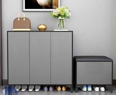 جاکفشی نیمکتدار SHJ360 دارای قفسه و درب جکدار داشبوردی که به عنوان استند و کمد کفش در ورودی منزل و اتاق و در کنار سرویس خواب قرار میگیرد.