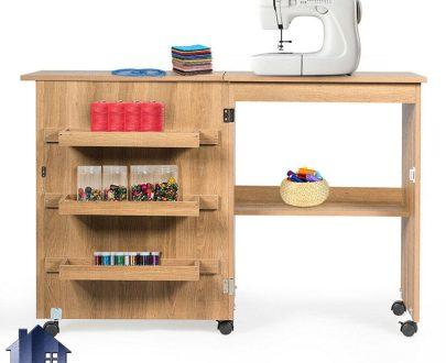 میز چرخ خیاطی SMDJ100 به صورت خانگی با مکانیزم تاشو و کمجا که به عنوان میز تحریر و لپ تاپ و میز کار در کنار سرویس خواب در اتاق قرار میگیرد