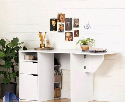 میز چرخ خیاطی SMDJ101 دارای مکانیزم کمجا و تاشو و به صورت میز کار خانگی که به عنوان میز تحریر و لپ تاپ در کنار سرویس خواب استفاده میشود.