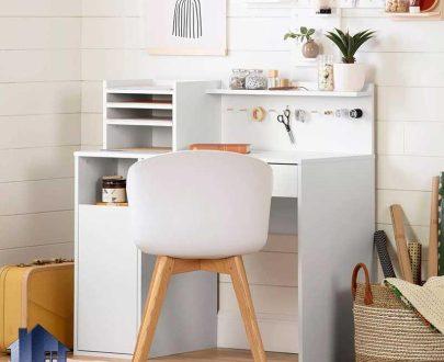 میز چرخ خیاطی SMDJ103 خانگی دارای کشو و قفسه و درب فایلینگ که به عنوان میز تحریر و لپ تاپ و کامپیوتر در کنار سرویس خواب در اتاق قرار میگیرد.