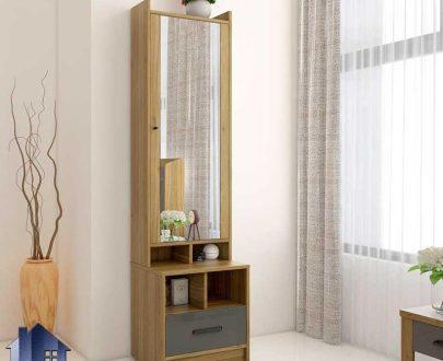 آینه قدی SMJ220 دارای کشو و قفسه و درب آینه ای که به عنوان میز آرایش و توالت و گریم در کنار سرویس خواب در اتاق یا سالن آرایشگاه قرار میگیرد.