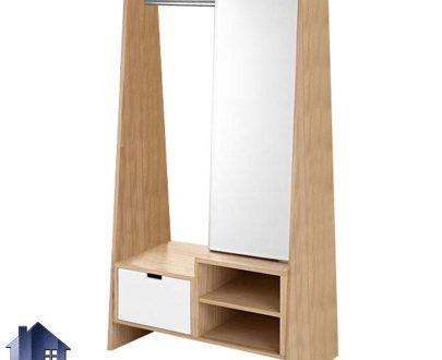 آینه قدی SMJ221 دارای قفسه و رگال آویز لباس کشو دار که به عنوان میز آرایش، توالت و گریم در کنار سرویس خواب در اتاق، سالن آرایش قرار میگیرد.