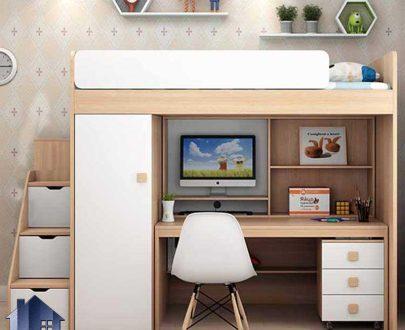 تخت خواب دو طبقه TBJ82 دارای میز تحریر، کمد جالباسی، فایل، دراور، کتابخانه و پله باکس دار که به عنوان سرویس خواب کمجا در اتاق فرار میگیرد.