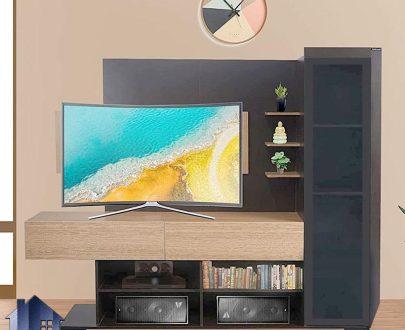 میز تلویزیون مدل TTJ100 دارای قفسه و درب جکدار داشبردی و درب ویترین شیشه ای که در قسمت تی وی روم و پذیرایی برای LCD و LED استفاده میشود